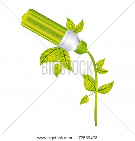 color silhouette with fluorescent lamp with leaves and inclined to left side vector illustration