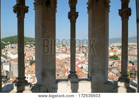 View From The Clock Tower Of San Doimo Cathedral At Split