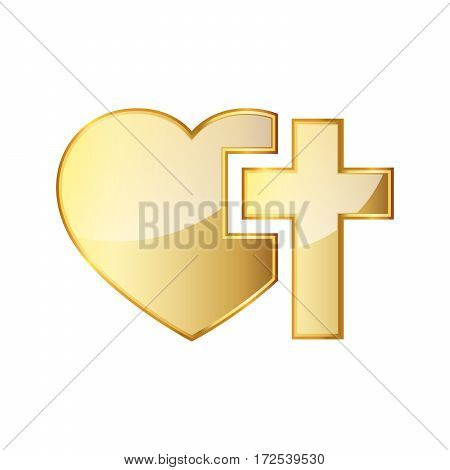 Golden Christian cross and silhouette of heart. Golden symbol of christian love isolated on white background. Vector illustration. Christian symbol.