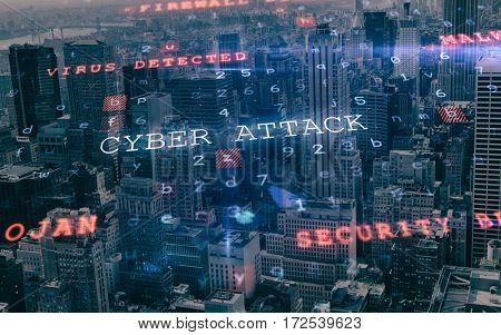 Virus background against view of cityscape