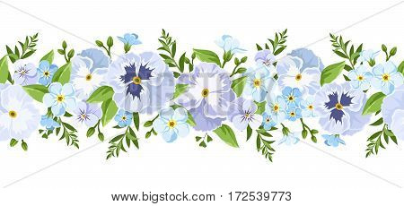 Vector horizontal seamless border with blue pansy and forget-me-not flowers and green leaves.