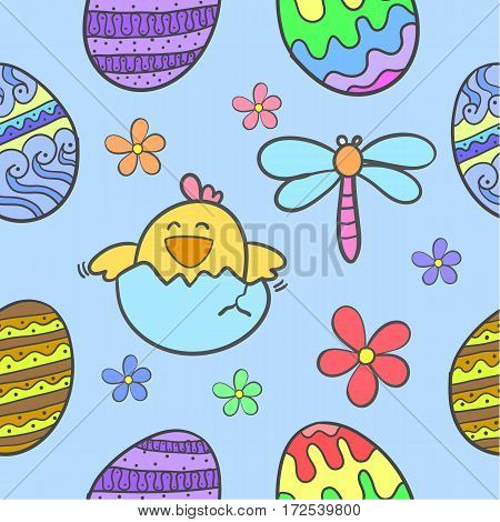 Illustration of easter style doodles collection stock