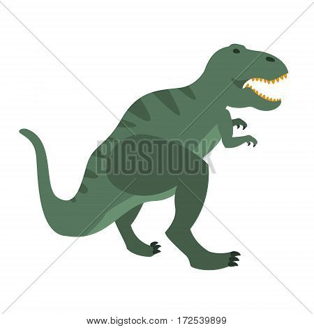 T-Rex Dinosaur Of Jurassic Period, Prehistoric Extinct Giant Reptile Cartoon Realistic Animal. Simplified Dinosaur Species Vector Illustration With Recognizable Details Of Ancient Fauna.