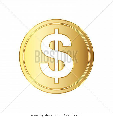 Golden dolar coin icon. Vector illustration. Golden dollar coin isolated on white background.