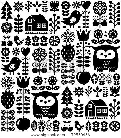 Scandinavian seamless folk pattern - black Finnish folk art, Nordic style