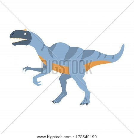 Blue Velociraptor Dinosaur Of Jurassic Period, Prehistoric Extinct Giant Reptile Cartoon Realistic Animal. Simplified Dinosaur Species Vector Illustration With Recognizable Details Of Ancient Fauna.