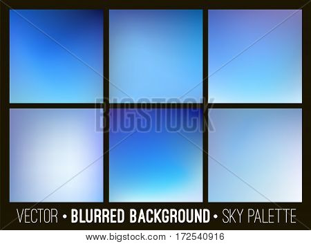 Blue abstract blurred background set. Sky and clouds concept. Smooth design elements collection