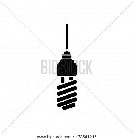 black silhouette with spiral fluorescent lamp vector illustration