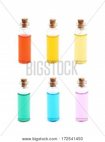 Single glass vial bottle with a cork filled with a colored liquid, isolated over the white background, set of six different foreshortenings