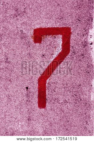 Number Seven On Pink Cement Wall.