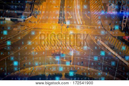 Virus background against illuminated road in city