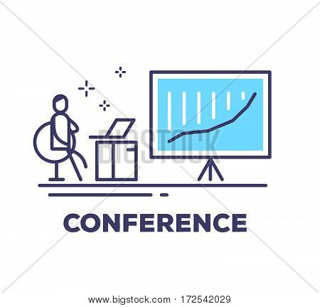 Vector Business Illustration Of A Man Sitting In A Chair Next To The Large Blue Stand On A Tripod Wi