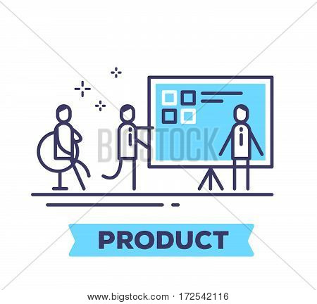 Vector Business Illustration Of Men And A Large Blue Information Board On A Tripod On White Backgrou