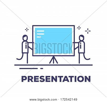 Vector Business Illustration Of Two Men And A Large Blue Information Board On A Tripod On White Back