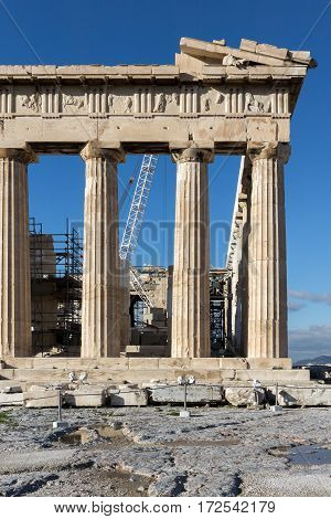 Amazing view of The Parthenon in the Acropolis of Athens, Attica, Greece