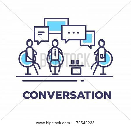 Vector Business Illustration Of Men Sitting In Chairs In The Meeting Room And Talking On White Backg