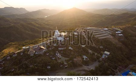 aerial view of wat pharsonkaew khao koh northern thailand most popular traveling destination in petchabun province