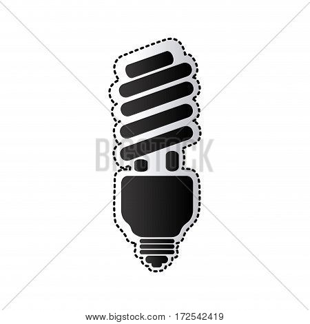 black silhouette sticker with spiral fluorescent lamp vector illustration