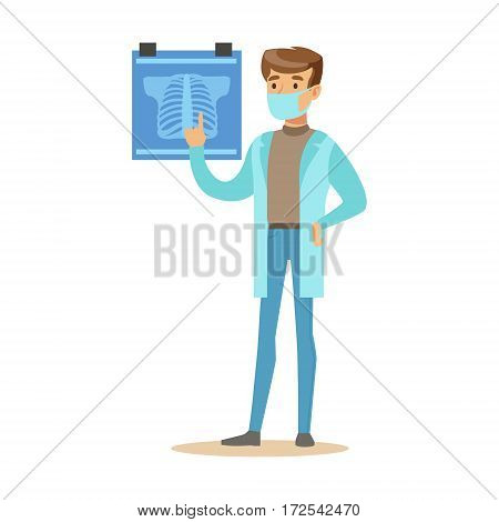 Male Radiologist Doctor Wearing Medical Scrubs Uniform Working In The Hospital Part Of Series Of Healthcare Specialists. Smiling Cartoon Character Professional Doctor Of Medicine At Work In Clinic.