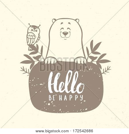 Stylish cartoon cute and funny bear with owl and place for text. Vector illustration