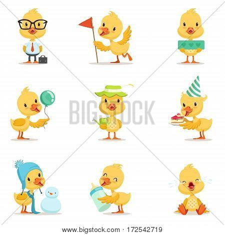 Little Yellow Duck Chick Different Emotions And Situations Set Of Cute Emoji Illustrations. Humanized Wild Baby Bird Activities Cartoon Vector Stickers.