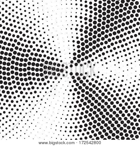 Abstract dotted vector background. Concetric circles in squere shape. Halftone effect