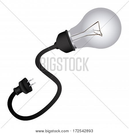 monochrome silhouette of bulb light with plug vector illustration