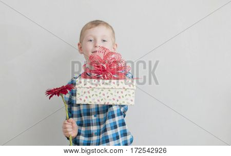 Little Boy With Red Flower And Gift Box