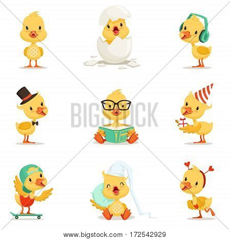 Little Yellow Duckling Different Emotions And Situations Set Of Cute Emoji Illustrations. Humanized Wild Baby Bird Activities Cartoon Vector Stickers.