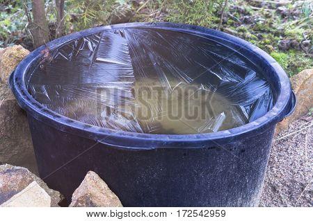 Frozen water in a old Mortar bucket.