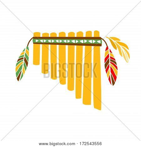Ghost Panpipes Flute Music Instrument With Feather Decoration, Native Indian Culture Inspired Boho Ethnic Style Print. Tribal American Stylized Vector Illustration For Hipster Fashion Typographic Template.