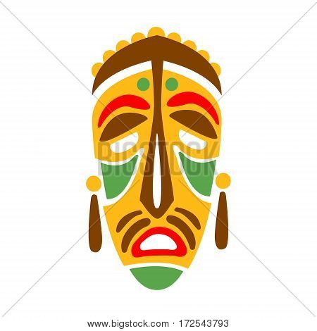 Carved Wooden Mask With Human Face, Native Indian Culture Inspired Boho Ethnic Style Print. Tribal American Stylized Vector Illustration For Hipster Fashion Typographic Template.