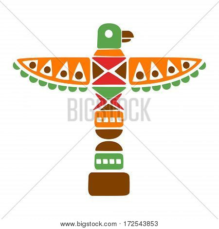 Religious Spiritual Totem With Eagle, Native Indian Culture Inspired Boho Ethnic Style Print. Tribal American Stylized Vector Illustration For Hipster Fashion Typographic Template.