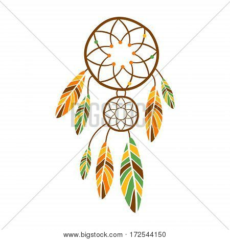 Double Dream Catcher With Feathers, Native Indian Culture Inspired Boho Ethnic Style Print. Tribal American Stylized Vector Illustration For Hipster Fashion Typographic Template.
