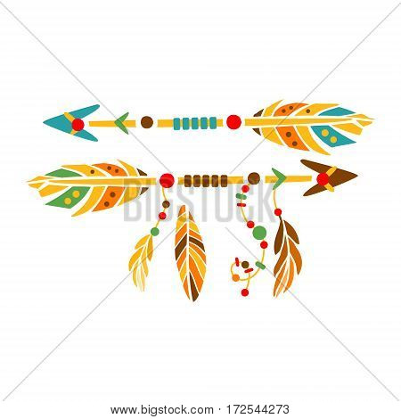 Two Decorative Arrows With Feathers, Native Indian Culture Inspired Boho Ethnic Style Print. Tribal American Stylized Vector Illustration For Hipster Fashion Typographic Template.