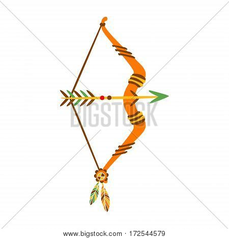 Bow With Arrow Decorated With Feathers, Native Indian Culture Inspired Boho Ethnic Style Print. Tribal American Stylized Vector Illustration For Hipster Fashion Typographic Template.
