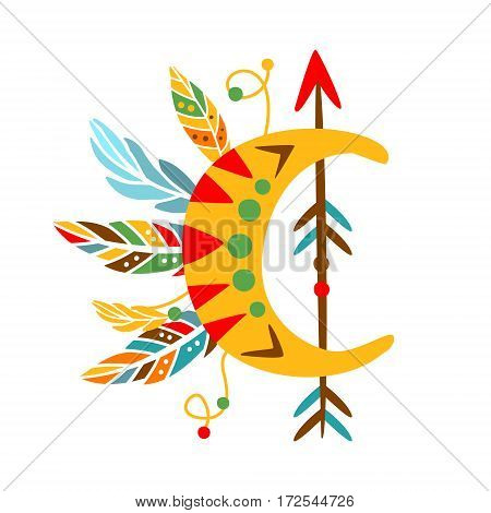 Decorative Object With Arrow , Feathers And Crescent Shape, Native Indian Culture Inspired Boho Ethnic Style Print. Tribal American Stylized Vector Illustration For Hipster Fashion Typographic Template.