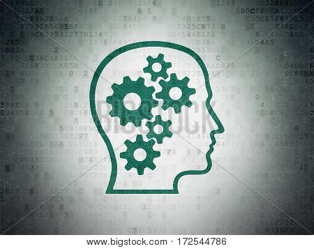 Information concept: Painted green Head With Gears icon on Digital Data Paper background