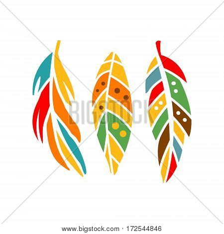 Three Different Colorful Feathers, Native Indian Culture Inspired Boho Ethnic Style Print. Tribal American Stylized Vector Illustration For Hipster Fashion Typographic Template.
