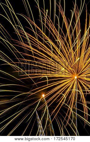 A golden colored firework shot off in the night sky