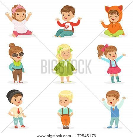 Young Children Dressed In Cute Kids Fashion Clothes, Series Of Illustrations With Kids And Style. Small Boys And Girls Stylishly Dressed Set Of Adorable Cartoon Characters.