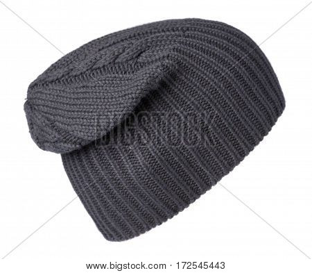 Hat Isolated On White Background .knitted Hat .blue Hat