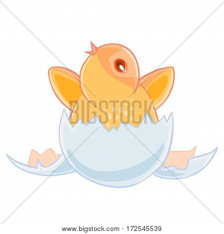 Cute small yellow chicken hatched from an egg, and sits in the shell. Vector illustration.T-shirt print. Greeting card.
