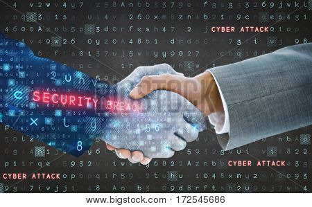 Business people shaking hands against virus background