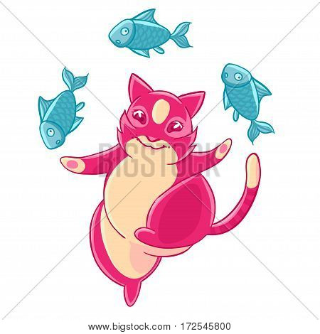 Cute pink cat smiling and juggling fish. Vector illustration.T-shirt print. Greeting card.
