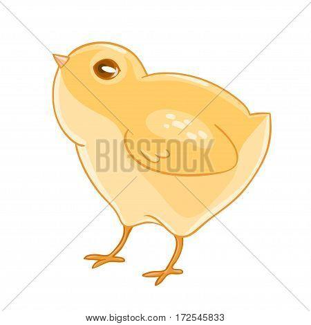 Cute cartoon yellow chicken. Vector illustration.T-shirt print. Greeting card.