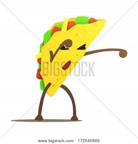 Mexican Taco Street Fighter, Fast Food Bad Guy Cartoon Character Fighting Illustration. Junk Food Menu Item With Evil Face Looking For A Fight Vector Drawing.