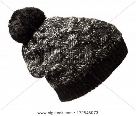 Women's Hat . Knitted Hat Isolated On White Background.motley  Hat.black White Hat