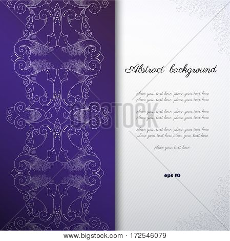 Vector abstract background with sample text. Decor is delicate. Perfect for invitations announcement or greetings.