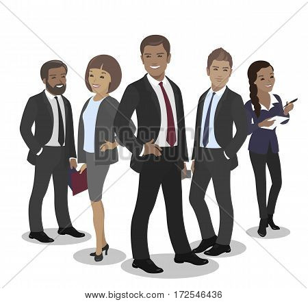 Business team of employees and the boss international group vector illustration